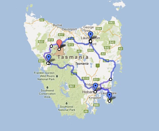 Tasmania Road Trip Map